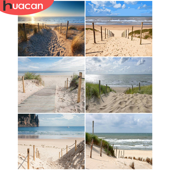 HUACAN Oil Painting By Number Beach DIY Pictures By Numbers Landscape Kits Drawing On Canvas Hand Painted Paintings Home Decor