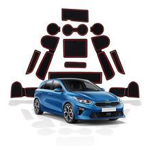 RUIYA Porta Scanalatura Zerbino Per Ceed 2018 2019/XCeed 2020 Auto Anti Slip Rilievi Fessura del Cancello Auto Interni anteriore E Posteriore Porta Pad Polvere Rosso
