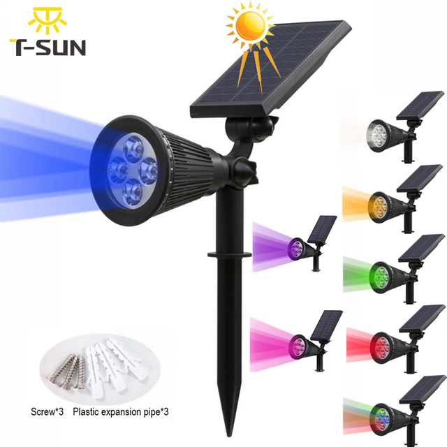 T-SUNRISE Solar Powered 4/7 LED Lamp Adjustable Solar Spotlight In-Ground IP65 Waterproof Landscape Wall Light Outdoor Lighting 1