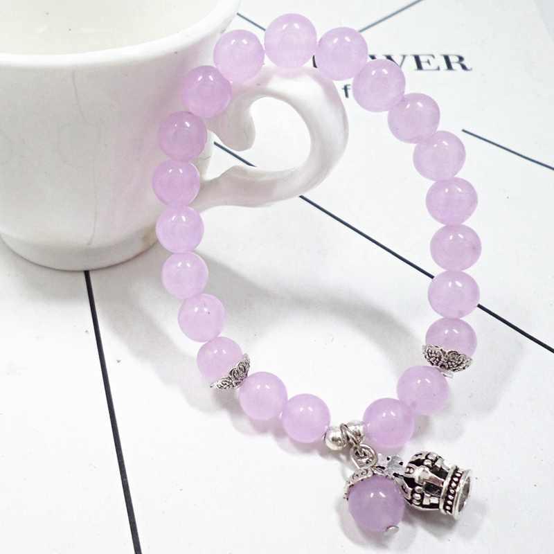 2019 pulsera de moda para hombres y mujeres pulsera de cuentas de Calcedonia Rosa pulsera de cristal de Calcedonia joyería de piedra Natural