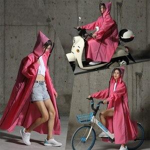 Image 2 - Gorąca sprzedaż EVA płaszcz przeciwdeszczowy kobiety/mężczyźni zamek z kapturem Poncho motocykl odzież przeciwdeszczowa długi styl piesze wycieczki Poncho środowiska kurtka przeciwdeszczowa