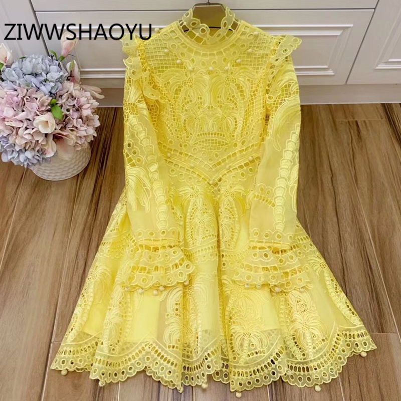 ZIWWSHAOYU 2020 Runway Fashion Summer Organza Hollow Out Embroidery Beading Trumpet Sleeve Sexy Party Yellow Dresses Women's