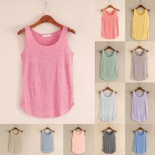 Women Summer Tank-sleeveless Round Neck Loose Singlets Vest Pullover Sweater Fashion Womens Tops And Blouses Sudaderas(China)