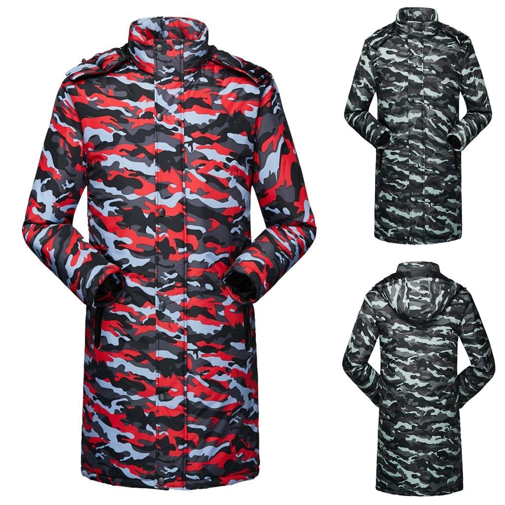 Men Casual Camouflage Warm Hooded Winter Zipper Long Sleeve Coat Outwear Tops Winter Jackets Veste Homme Hiver   Parka   Men E1