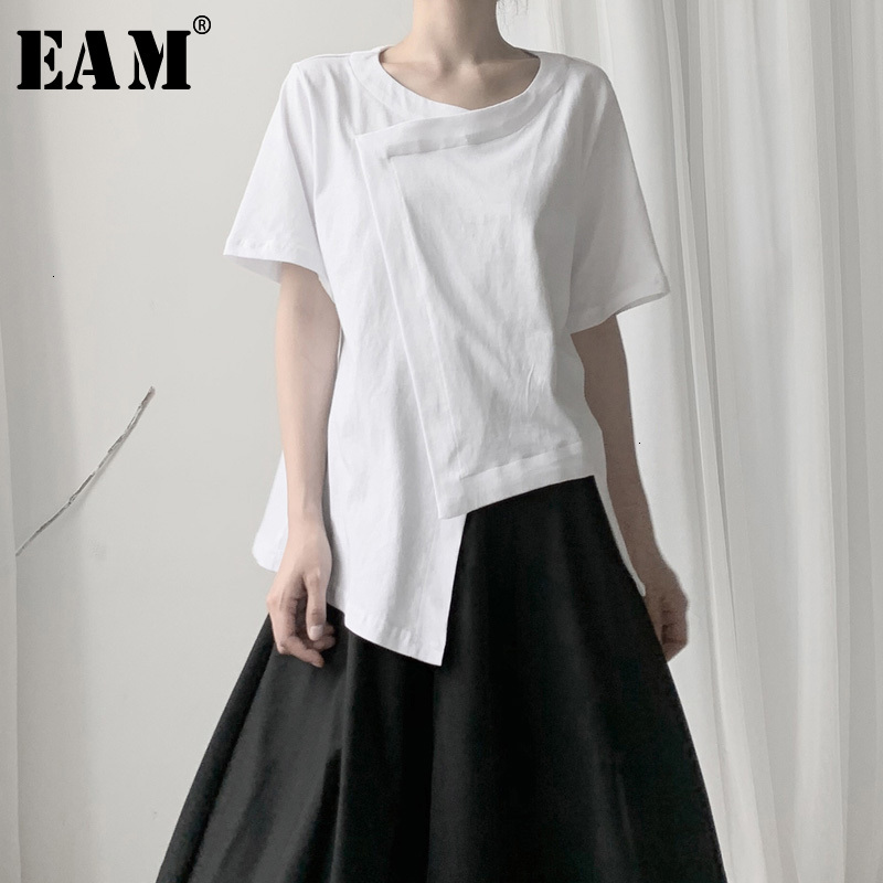 [EAM] Women White Split Asymmetrical Hemline T-shirt New Round Neck Short Sleeve  Fashion Tide  Spring Autumn 2021 19A-a598