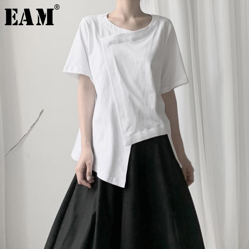 [EAM] Women White Split Asymmetrical Hemline T-shirt New Round Neck Short Sleeve  Fashion Tide  Spring Autumn 2020 19A-a598