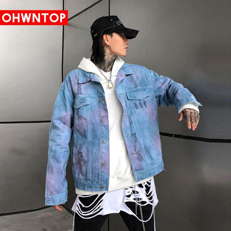 Fashion Tie Dye Denim Jacket High Street Men's Clothing Hip Hop Streetwear Men Bomber Jean Jacket Coats Casual Loose Denim Tops