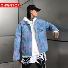 Fashion Tie Dye Denim Jacket High Street Men's Clothing Hip Hop Streetwear Men Bomber Jean Jacket Coats Casual Loose Denim Tops