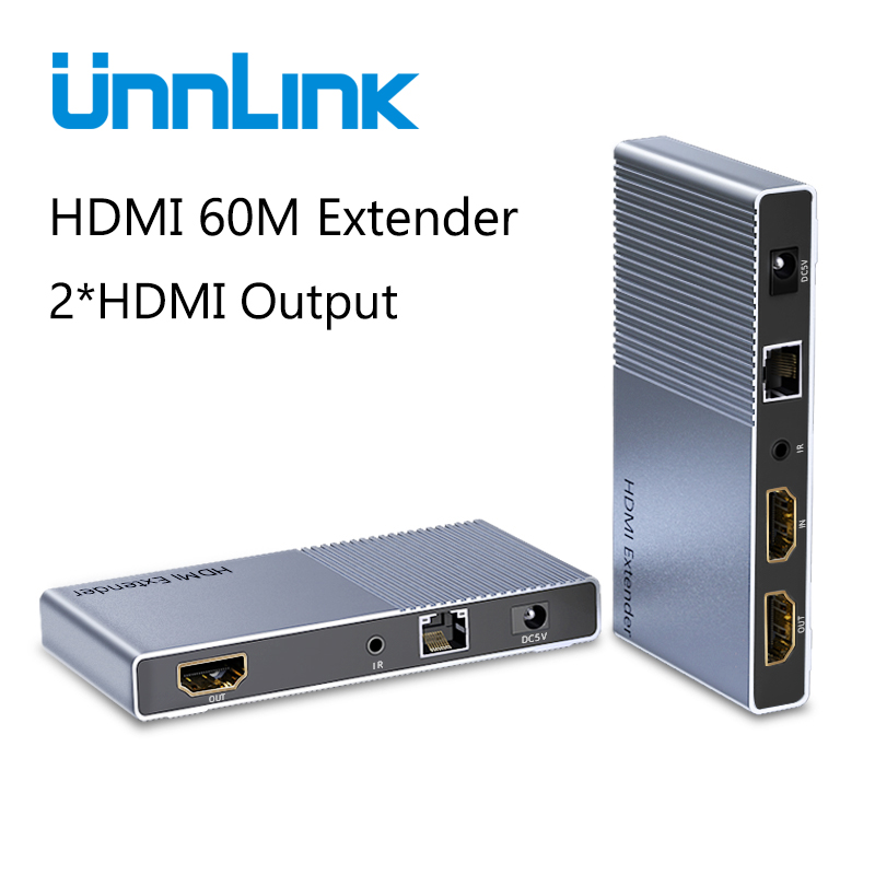 Unnlink 60M <font><b>HDMI</b></font> <font><b>Extender</b></font> with Local Output FHD 1080P@60Hz CAT6/7 Network LAN <font><b>RJ45</b></font> Ethernet IR Transmit for TV Projector Monitor image
