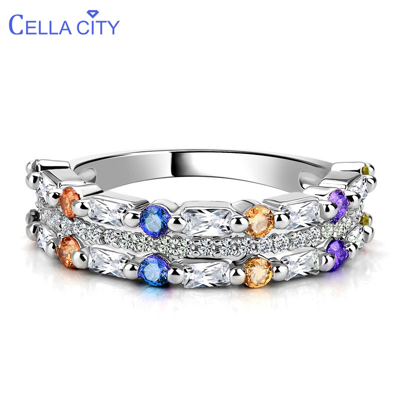 Cellacity Geometry Silver 925 Jewelry Gemstones Ring For Women Citrine Citrine Amethyst Zircon Pink Crystal Female Gift Wholesal