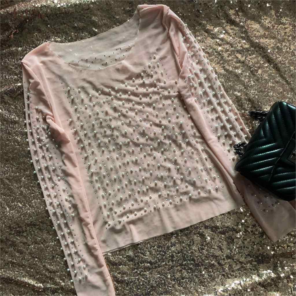 Artsu חמוד פרל שקוף סקסי רשת תחרה חולצה חולצה נשים סקסי ואגלי ארוך שרוול חולצות לראות דרך חולצות למעלה ASBL60692