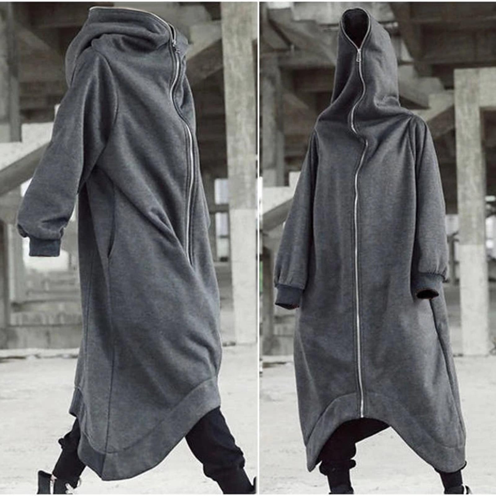 Mens Long Hoodie Zipper Coat Nazgul