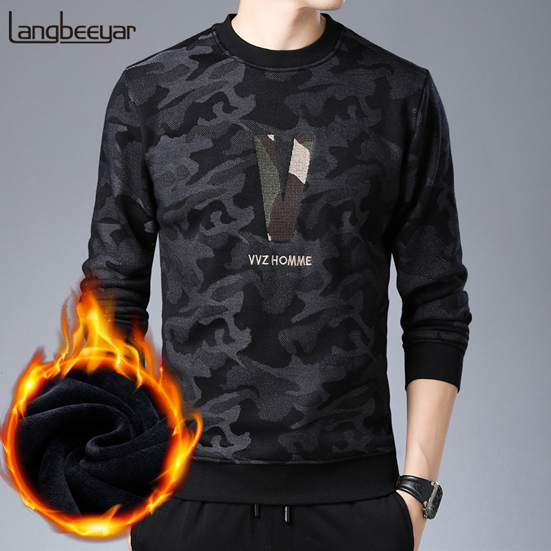 2020 Thick Velvet New Fashion Sweater For Mens Pullover Warm Slim Fit Jumpers Knitred Winter Korean Style Casual Mens Clothes