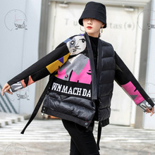 [EWQ] ASAP Overcoats Jackets Thickened Cartoon Keeps Warm Queen Clothing Panelled Print Cotton Padded Coats 2021 Autumn Black