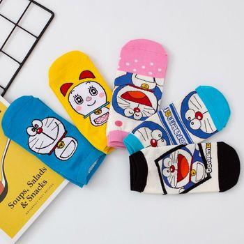 Cartoon Doraemon Print Cute Cotton Casual Fashion Women Socks Harajuku Kawaii Short Socks Ankle Socks Funny Comfortable korean spring 2020 avocado girl lady women kawaii socks japanese harajuku funny ankle korean style women cotton causal layd socks