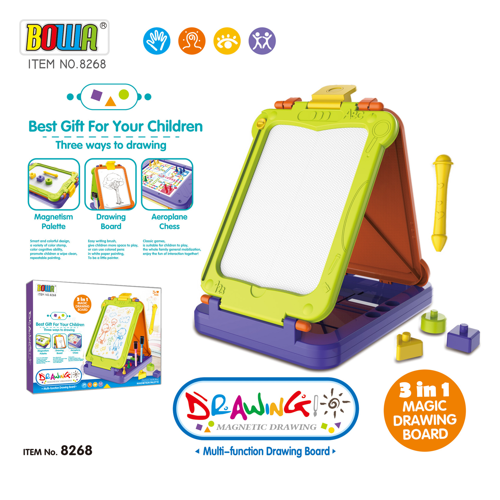 Large Size Children Multi-functional Graffiti Sketchpad Stereo 3 Surface Magnetic Plastic Tablet Painted Educational Toy