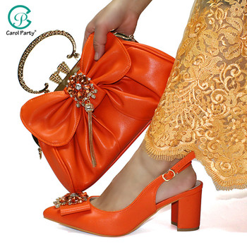 High Heels 2020 New Italian Design African Shoes and Nice Bag to Match High Quality Decorate with Rhinestone in Orange Color