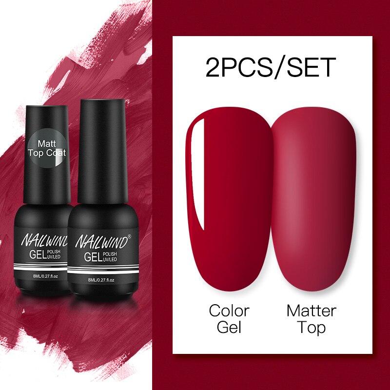 NAILWIND Matte Gel Nail Polsih 2Pcs/Set Hybrid Semi Permanent UV LED Base Top Coat Nail Gel For Nail Art Manicure Set Gel Polish