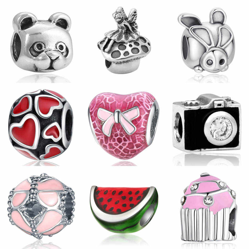 Silver Plated Bead Mushroom Fairy Bear Camera Rabbit Watermelon Cupcake Butterfly Charm Fit Pandoras DIY Jewelry