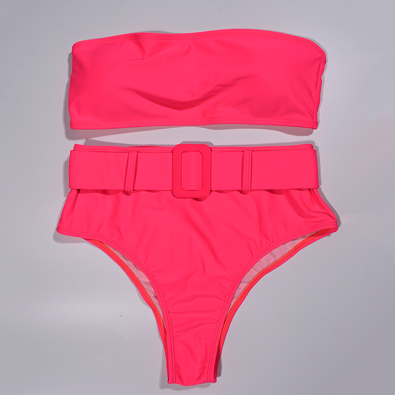 Pink High Waist Bandeau Bikini Set 2