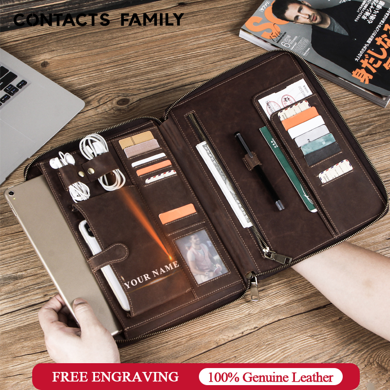 Funda de cuero Retro para iPad Pro 10,5 Air 3 11 2019 folio teléfono auricular de bolsillo bolsa pasaporte titular cremallera protectora alrededor
