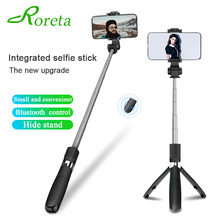 Roreta 3 in 1 Wireless Bluetooth Selfie Stick Foldable Mini Tripod Extension Monopod with Remote Shutter for iOS / Android