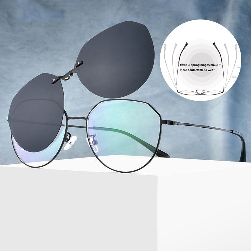 Sunglasses Optical Thin Frames Round Men Polarized Clip On Eyewear Fashion Ultralight Eyeglasses Clear Replaceable Lens Charm