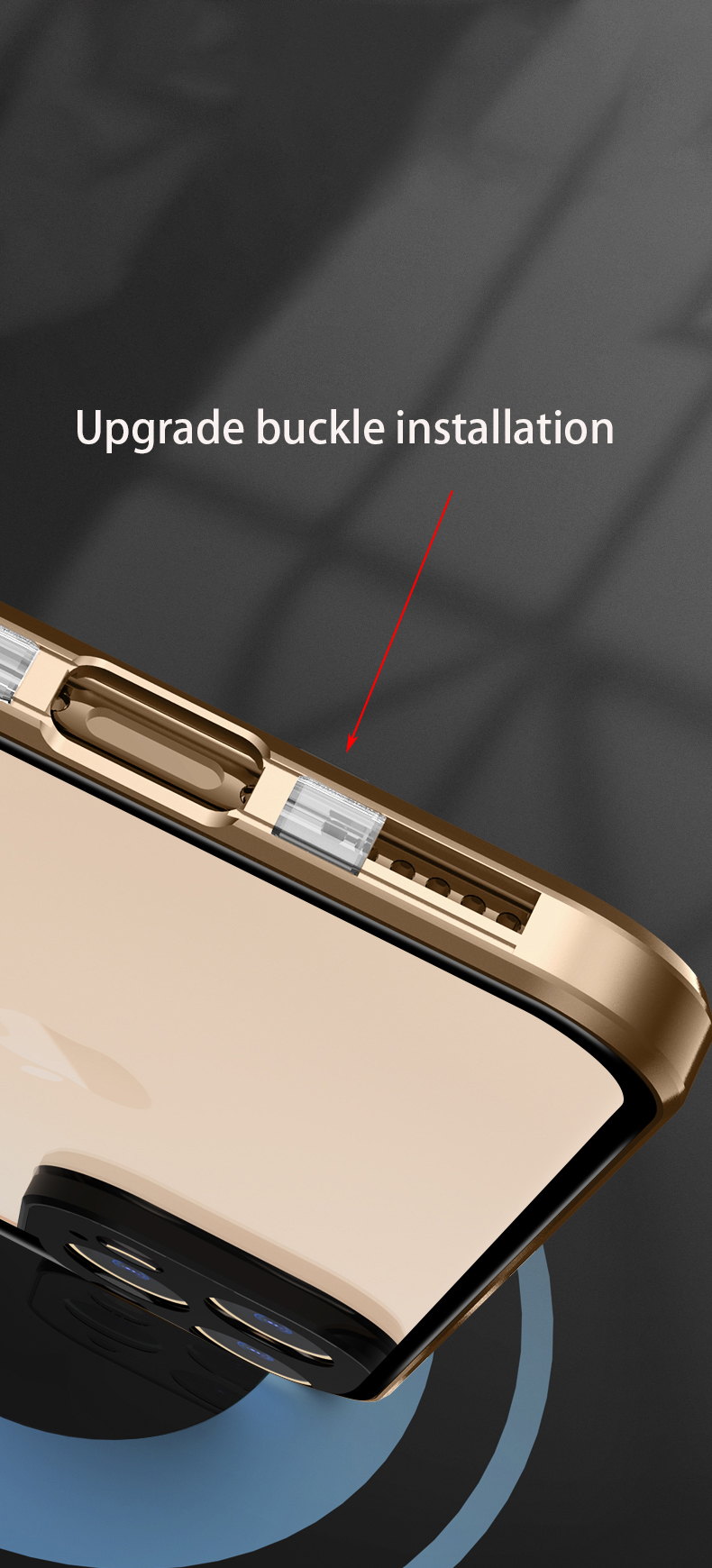 Luxury Metal 360 Buckle Installation Glass Case For iPhone 12
