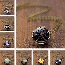 Double Sided Glass Ball Pendant Necklace Women Fashion Universe Galaxy Planet Necklace Aesthetic Girl Stylish Collares Drop Ship(China)