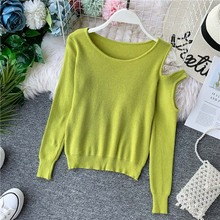 NiceMix solid sweater render unlined upper garment show thin all unilateral off-the-shoulder western style sweater long sleeves dark grey off shoulder bat wing sleeves sweater