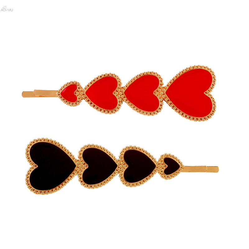Trendy Exaggeration Big Small Heart Shaped Hair Pins Red Black Enamel Geometric Hair Clips Hair Accessories For Women Girls