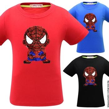 SpiderMan nowe koszulki z krótkim rękawem koszulki dla dzieci chłopcy koszulki z krótkim rękawem dla dzieci ubrania dla dzieci dwustronne cekiny koszulki Alan Walker Jojo Siwa tanie i dobre opinie Disney COTTON SILK Modalne CN (pochodzenie) Cartoon REGULAR O-neck Pasuje prawda na wymiar weź swój normalny rozmiar
