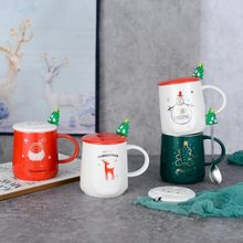 Copo de cerâmica copo criativo com tampa colher marca decoração de natal