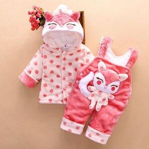 Image 1 - Conjuntos de ropa de abrigo para bebé recién nacido, sudaderas con capucha de algodón grueso de terciopelo + Pantalones de babero, chándales de 2 uds para niña pequeña 2Y