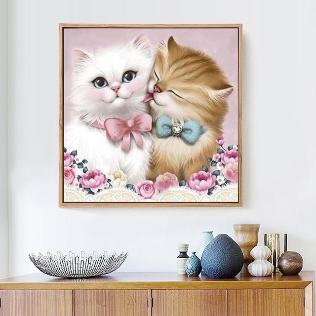HUACAN 5D DIY Diamond Painting Cat Lovers Full Square Rhinestone Cross Stitch Diamond Mosaic Embroidery Wall