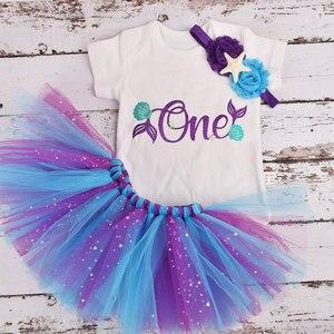 Для маленьких девочек один год платье русалки 1 наряд для первого дня рождения, летняя одежда для мальчиков Детский комбинезон одежда отделка: тюль, сетка, вечерние, комплект с юбкой пачкой|Комплекты одежды|   | АлиЭкспресс