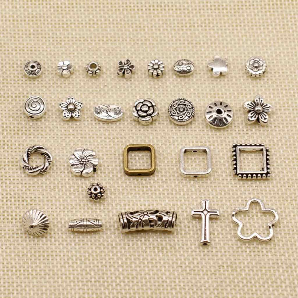 1 Piece Silver Plated Charm Or Pendants Jewelry Making Perforated Flower Small Hole Beads HJ237