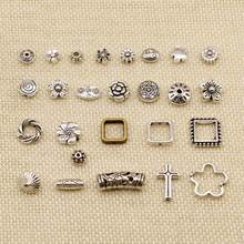 1 Piece Silver Charm Or Pendants Jewelry Making Perforated Flower Small Hole Beads HJ237(China)