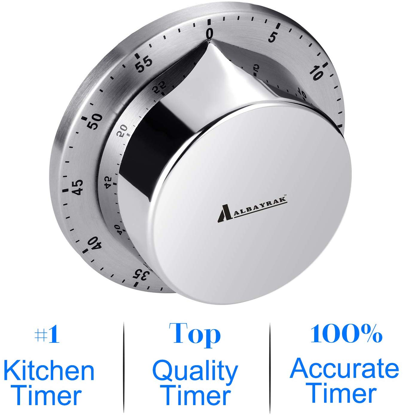 Kitchen Timer Chef Cooking Timer Clock Loud Alarm Mechanical Magnetic Backing Exquisite Stainless Steel Body Countdown Reminder
