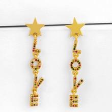 ZHONGVI Multicolor Crystal Star Drop Earrings For Women Gold Filled LOVE Letter Earrings CZ Zircon Trendy Statement Jewelry star cz drop earrings