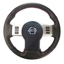 Gloss/Matte Carbon Fiber&Hole Leather Steering Wheel Hand Sewing Wrap Stitch-on Cover Fit For Nissan Xterra/ Pathfinder/Frontier