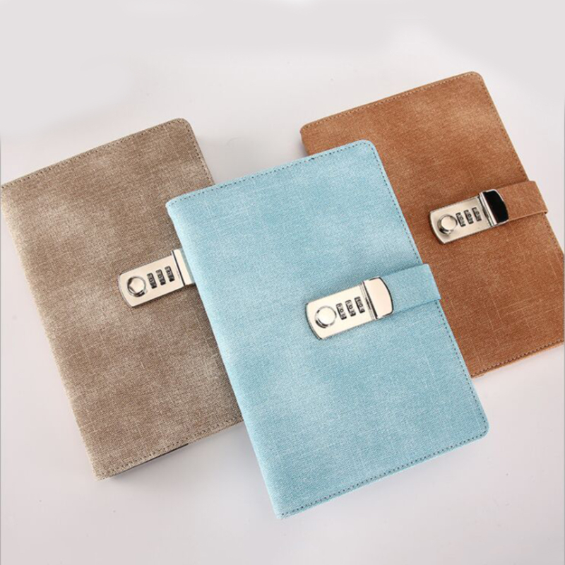 Password Notebook Paper Lockable Portable Book Diary Lock Traveler Journal Weekly Planner School Stationery Gifts