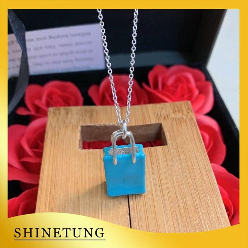 1: 1 Original modèle S925 en argent Sterling collier classique mode Shopping sac pendentif collier dames bijoux cadeau d'anniversaire