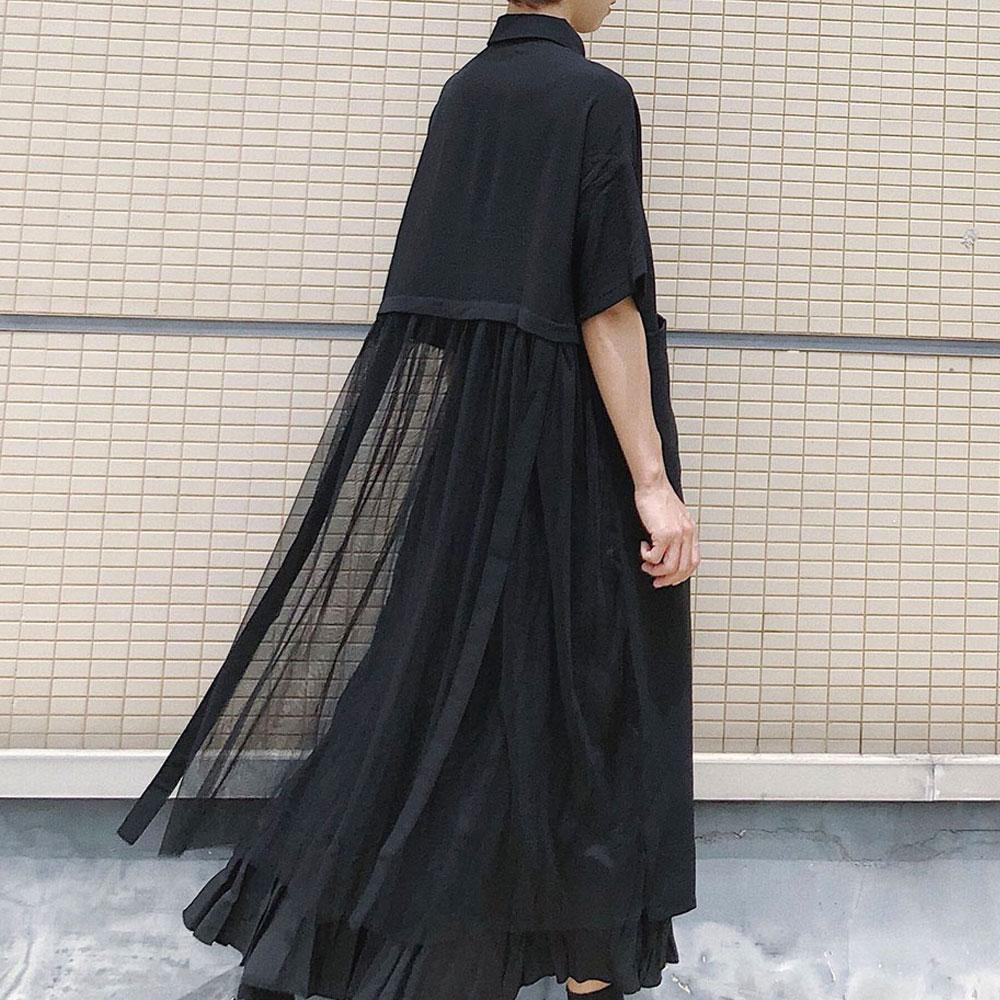 Korean Japan Style Women Long Chiffon Shirt Irregular Mesh Stitching Single-breasted Top School Casual Tee Shirt 2020 Spring New