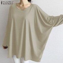 ZANZEA 2020 Fashion Women Shirt Causal Baggy Solid Blouse New Fashion Ladies Long Sleeve Tops Tunic Blusas Femininas Plus Size