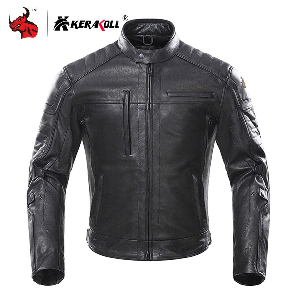 KERAKOLL Leather Motorcycle Jacket Men Vintage Retro Moto Jacket Chaqueta Moto Windproof Waterproof Motocross Jacket Black