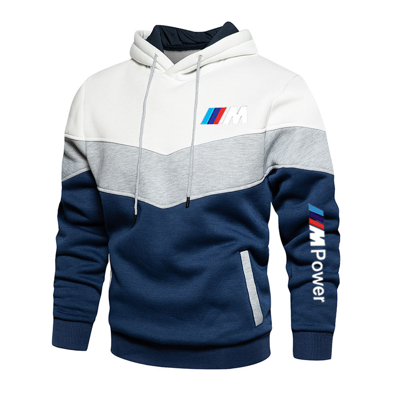 Men's stitching BMW fashion autumn and winter hooded sports hoodie clothing casual loose polar fleece warm street clothing men
