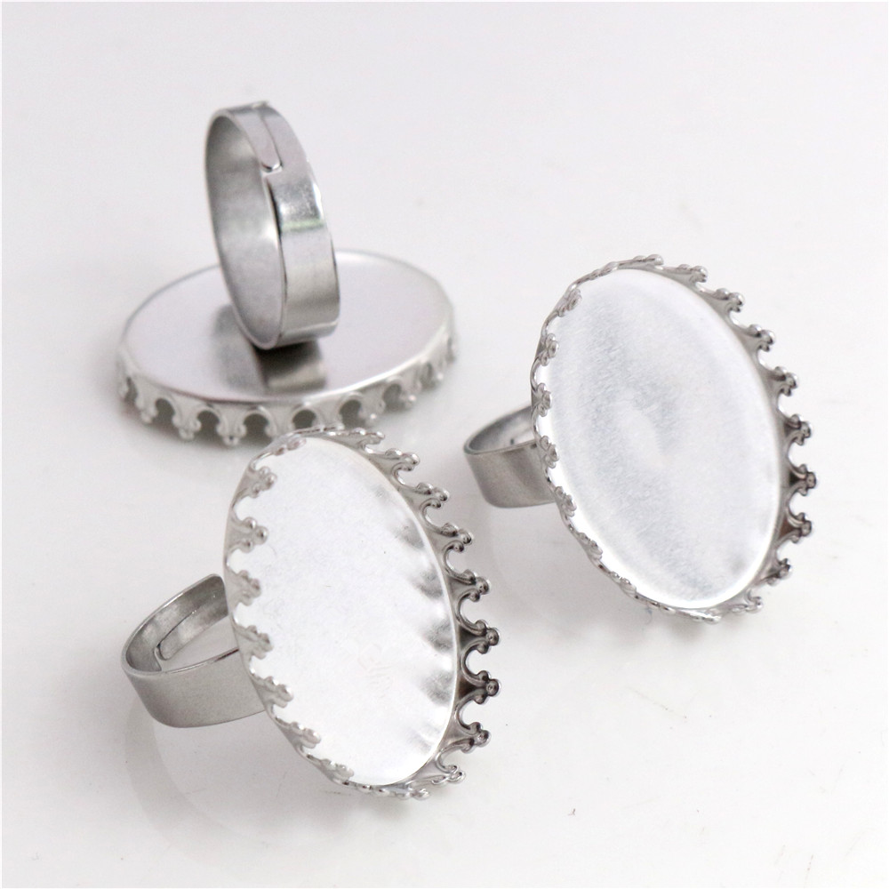 18x25mm 10pcs/Lot No Fade Stainless Steel Adjustable Ring Settings Blank/Base,Fit 18*25mm Glass Cabochons-R6-17