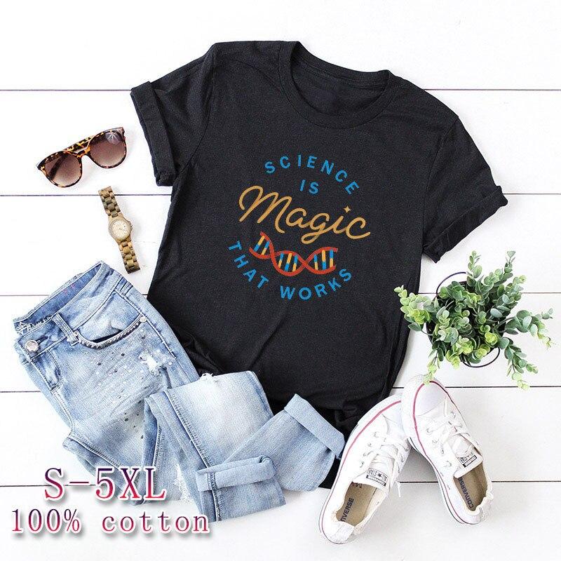 Plus Size S-5XL New Magic Print T Shirt Women Shirts 100%Cotton O Neck Short Sleeve Tees Summer T-Shirt Pink Tops TShirt Women