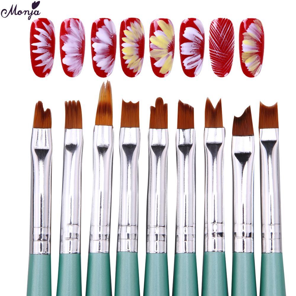 Monja 8Pcs&9pcs/Set Nail Art French Smile Half Moon Shape Drawing Brushes DIY Petal Flower Gradient Painting Pen Manicure Tools